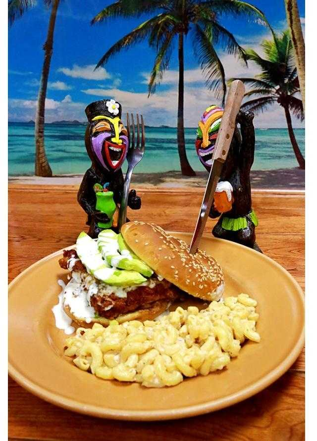 Whoa!  I mean ONO! This beauty is Hawaiian Brian's Cowboy Sandwich!  Katsu Chicken on a bed of avocado, with cheese, bacon, and smothered in ranch, on a sesame seed bun!  Notice Shanea's famous Macaroni Salad on the side!