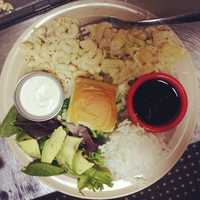 Hawaiian Brian's has love for all!  Meat free?  Try their Veggie Plate!