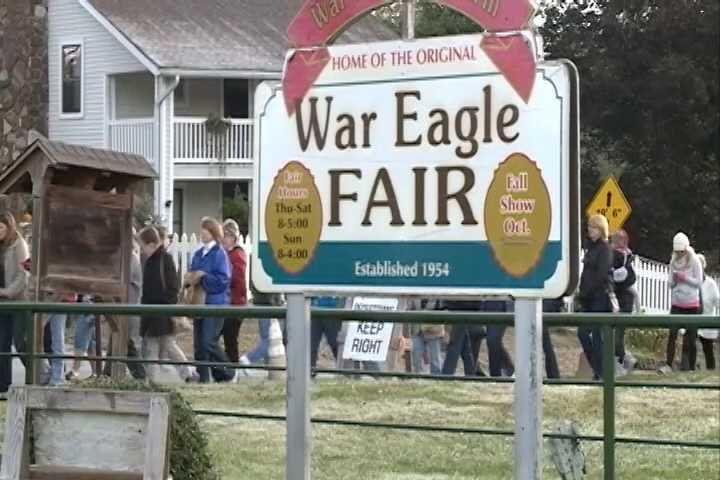 The War Eagle Fair runs from 8 a.m. to 5 p.m. from Thurs. Oct. 16 to Sun., Oct. 19. It closes an hour early (at 4 p.m.) on Sunday.