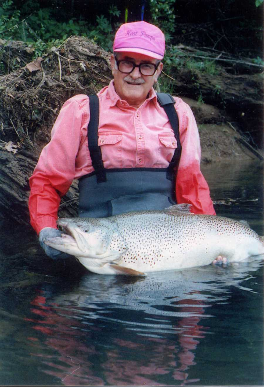 """Howard """"Rip """" Collins set the 4-pound-line class record for Brown Trout when he caught this 40-pound, 4-ounce fish in the Little Red River in 1992."""