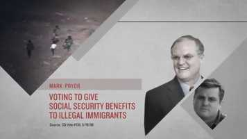 CLAIM: A National Republican Senatorial Committee ad claimed that Sen. Pryor voted to give Social Security to illegal immigrants.