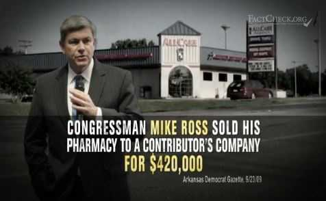 "CLAIM: A Republican Governors Association ad claimed that Mike Ross got a ""sweetheart deal"" when he sold his Prescott pharmacy in 2007."