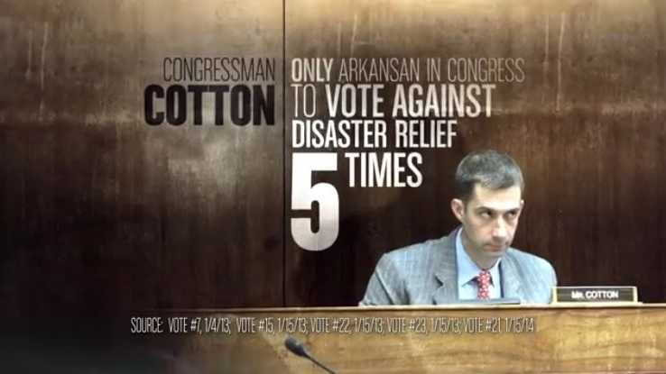 CLAIM: An ad by the liberal group Senate Majority PAC said Rep. Cotton was the only Arkansan in Congress to vote against disaster relief 5 times.