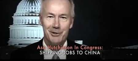 """CLAIM: A Ross campaign ad said Asa Hutchinson made it """"easier to ship our jobs to China."""""""