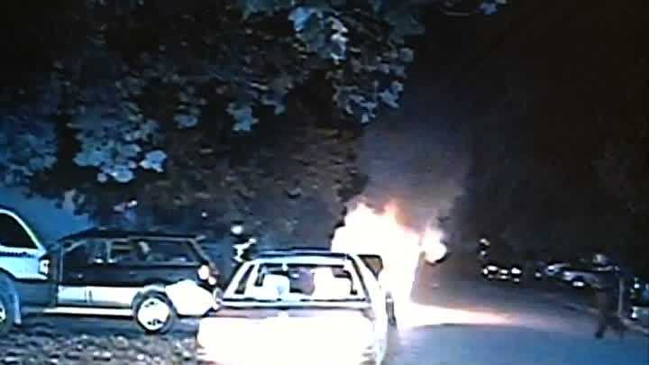 A Fayetteville police office rescued a man from a burning car.
