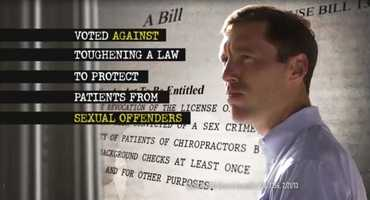 CLAIM: And, the ad said Steel voted against a law that would force chiropractors charged with a sex crime to lose their licenses.