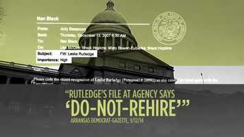 """CLAIM: An ad from the Committee for Justice and Fairness said Leslie Rutledge was put on a """"do-not-rehire"""" list by the Arkansas Department of Human Services where she worked as a child welfare attorney."""