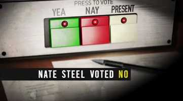 """FACT: Steel voted """"Present,"""" not """"No."""" He supported the bill, but wanted to make sure it protected a state park in his district."""