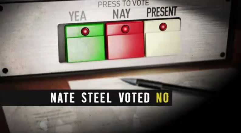 "FACT: Steel voted ""Present,"" not ""No."" He supported the bill, but wanted to make sure it protected a state park in his district."