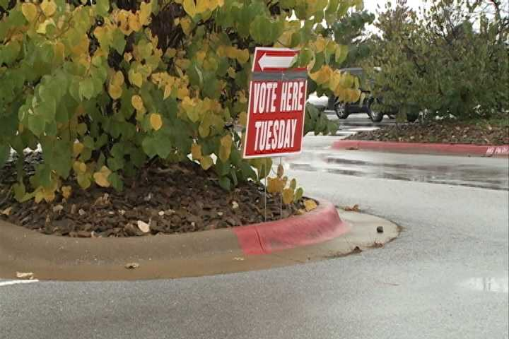 A rainy day for voting at the Mt. Comfort Church of Christ in Fayetteville Tuesday morning.