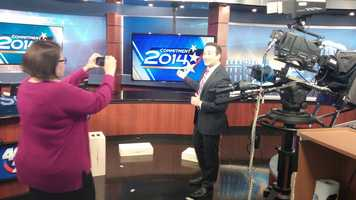 Behind the Scenes: 40/29 Anchor Daniel Armbruster and Director Julie Beazley shooting a web video.