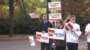 Tom Cotton campaigning on Tuesday.