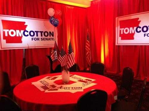 The Cotton Campaign party is set up at the Wyndham River Front Hotel in Little Rock.