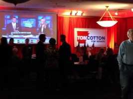 Guests arriving at the Tom Cotton watch party.