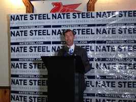 Nate Steel thanks supporters just before 10 p.m.