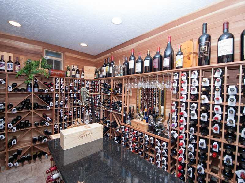 The temperature-controlled wine cellar has room for 2,000 bottles.