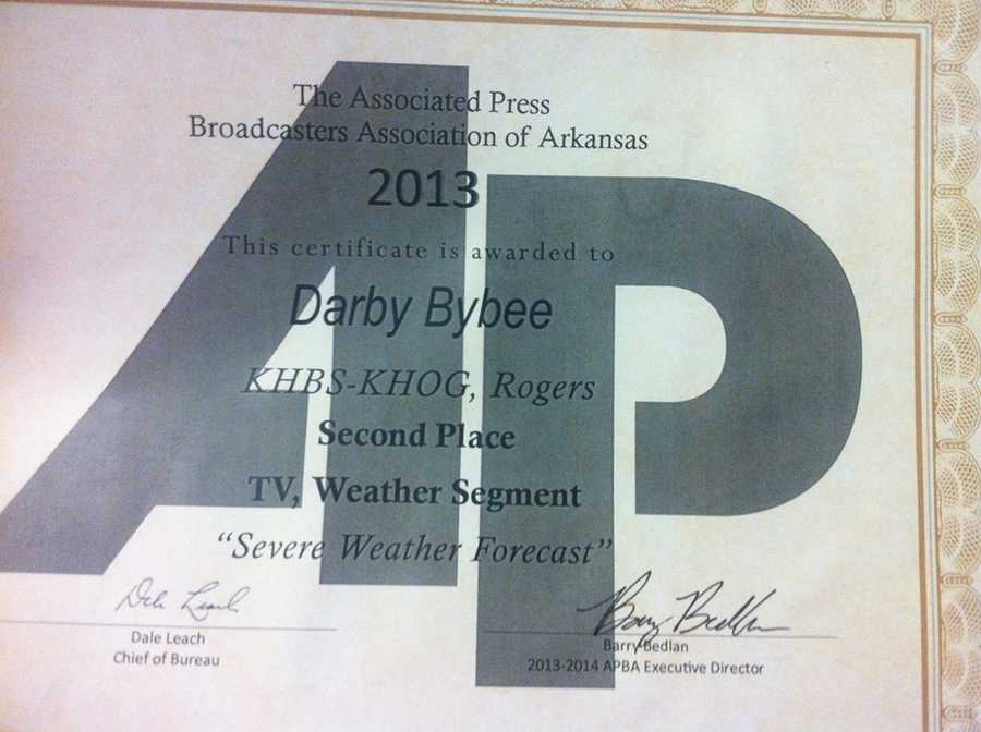 "Or, at least the AP thinks so. In 2013 I was awarded 2nd Place for Best ""Severe Weather Forecast"" in Arkansas. First place went to a Little Rock meteorologist. I take severe weather coverage very seriously. My hope is that it pays off by helping people."