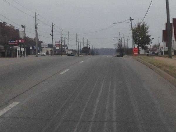 College Avenue in Fayetteville Sunday morning. You can still see the salt brine crews use to pretreat.