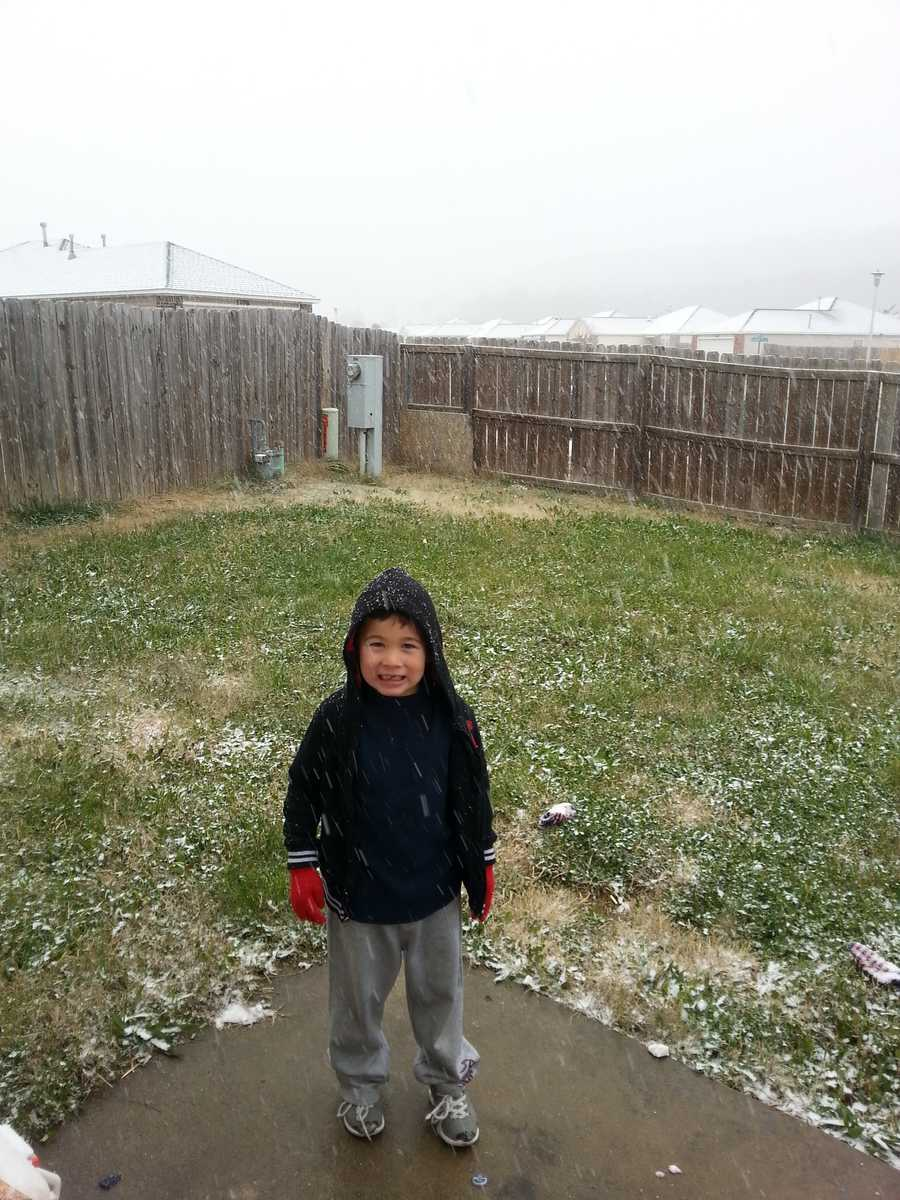 Kolton playing in the snowfall in Springdale.