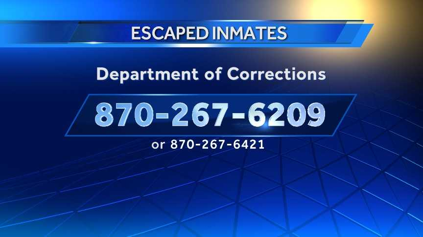 The Department of Corrections asks that you call this number if you have information as to their whereabouts.