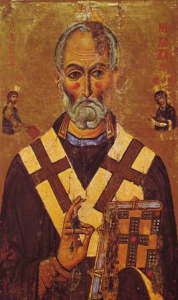 Saint Nicholas of Myra was a 4th-century bishop. He brought gifts to children in Medieval Europe on December 6.