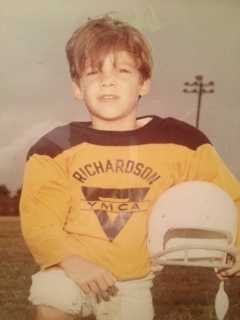 I love all sports, but football has always been my favorite! This is a picture of the running back on the Richardson, Texas. YMCA team in 1970-something.