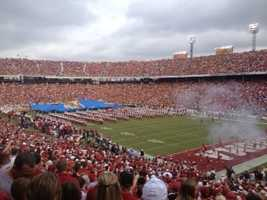 My dad raised me to root for the Oklahoma Sooners. This is a picture of the OU-Texas game in 2011. I still root for the Sooners, but I'm Hog Wild about the Razorbacks 24/7 on 40/29 Sports!