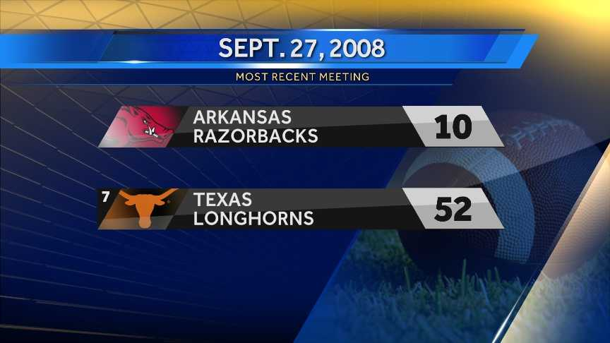 The Razorbacks and the Longhorns last met in 2008. Texas won, 52-10.