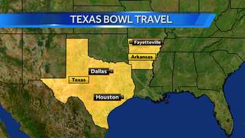 The Hogs are playing in the Texas Bowl in Houston. Click through to find out how much it will cost and long it will take to get there in time for the game on December 29th.
