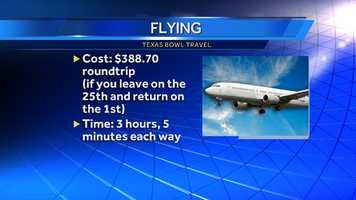 Numbers are from the cheapest flight found on Orbitz if you're flexible on the times you fly between XNA and Houston.