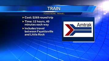 Little Rock has the Amtrak station nearest to Fayetteville. Prices are from Amtrak's website for a trip between Little Rock and Houston.