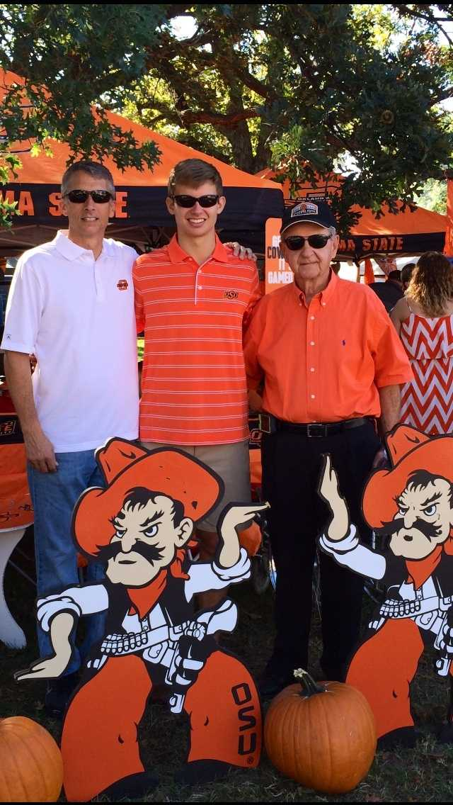 My father Steve on the far right played basketball and baseball for Oklahoma A&M, which is now Oklahoma State. My nephew Kade in the middle will attend OSU next fall. And, my brother-in-law Chad Scott is the Principal at Bentonville High School.