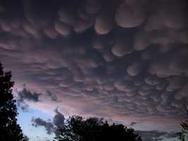 These are mammatus clouds and I consider them my favorite. They sometimes form during strong thunderstorms.