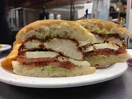 River City Deli is a New York style delicatessen in Fort Smith. They feature house roasted meats, freshly baked bread, homemade soups, and delicious entrees. Pictured is their Chicken Caprese with pesto on chibatta bread!