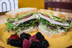 Little Bread Company is known as Fayetteville's artisan bakery, coffee, and sandwich shop. It is a little community bakery where anyone is welcome, and everything is made from local ingredients in house daily! Pictured here is the California Turkey
