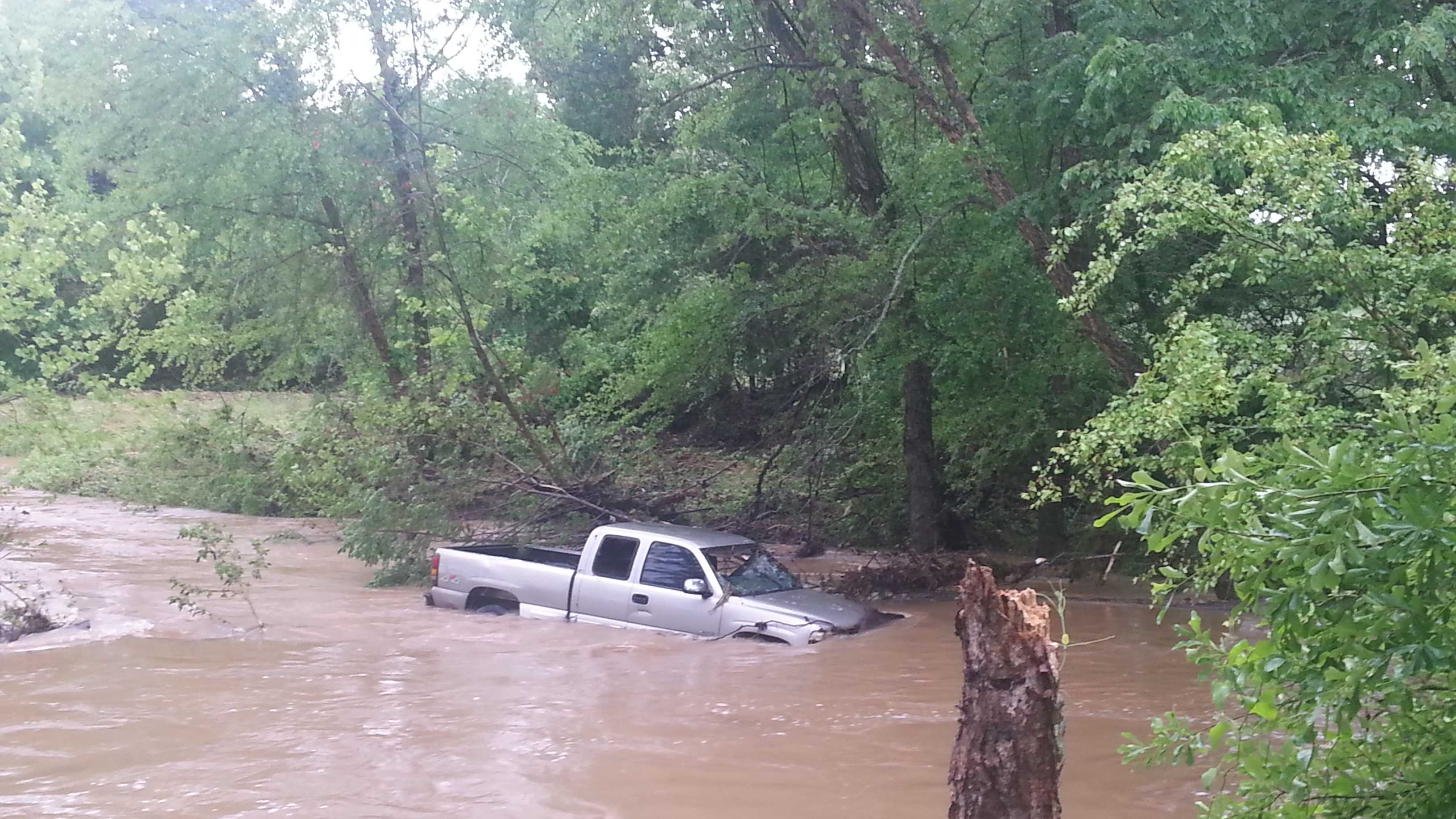 Truck in flooded waters