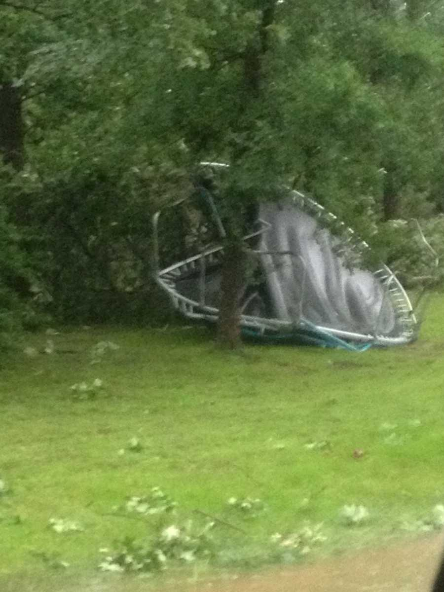 ABM Addition trampoline that was flown across the yard by high winds in Poteau.