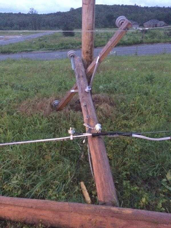 Power lines down in Pleasant Valley near Poteau.