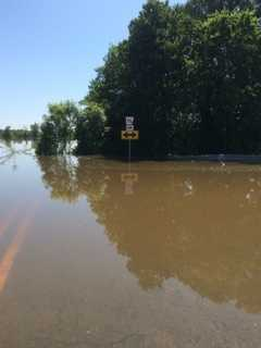 Highway 96 flooded in Lavaca toward Island.