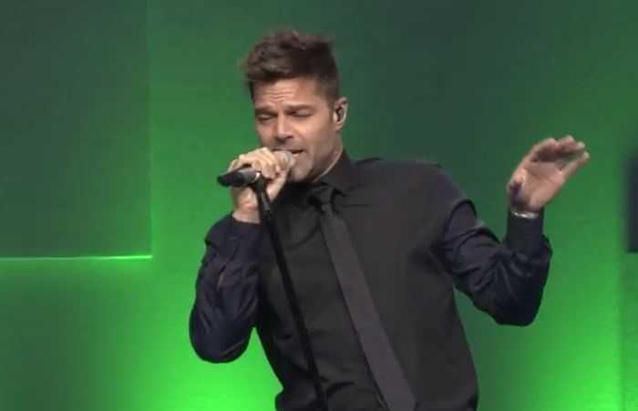 Ricky Martin sang his hit Livin' La Vida Loca in 2015