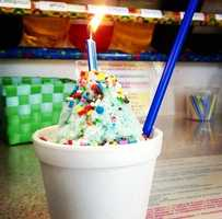 """The Sugar Shack is located in Fort Smith, AR! This is the """"birthday cake"""" snow cone specialty!"""