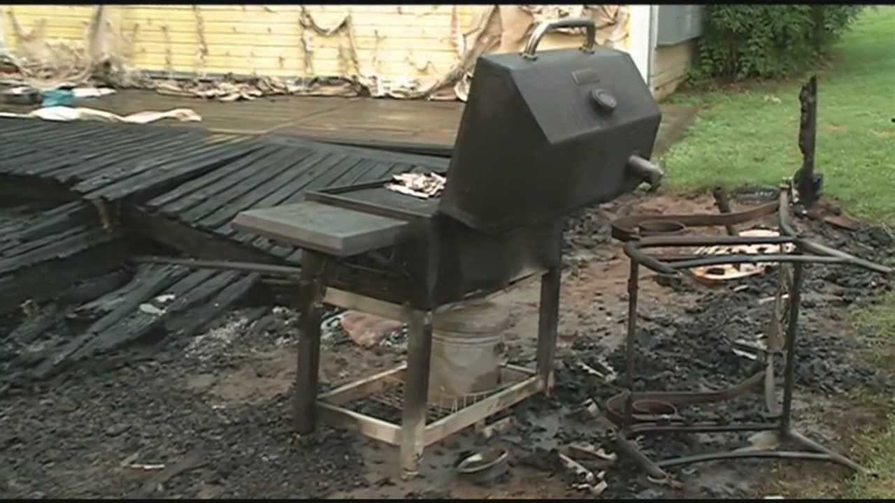 40/20's Pedro Rivera reports from Van Buren where a house fire broke out overnight from the sparks of a charcoal grill. The family is okay even though they were inside at the time of the fire.