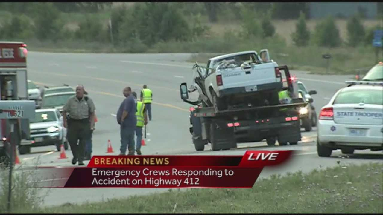 40/29's John Paul reports breaking news of a wreck that closed down all but one lane in both directions of Highway 412 east of Springdale this morning. All lanes have now re-opened. Three people have been taken to the hospital to be treated for injuries.