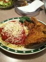 AQ Chicken House in Springdale. Pictured here is their chicken and spaghetti.