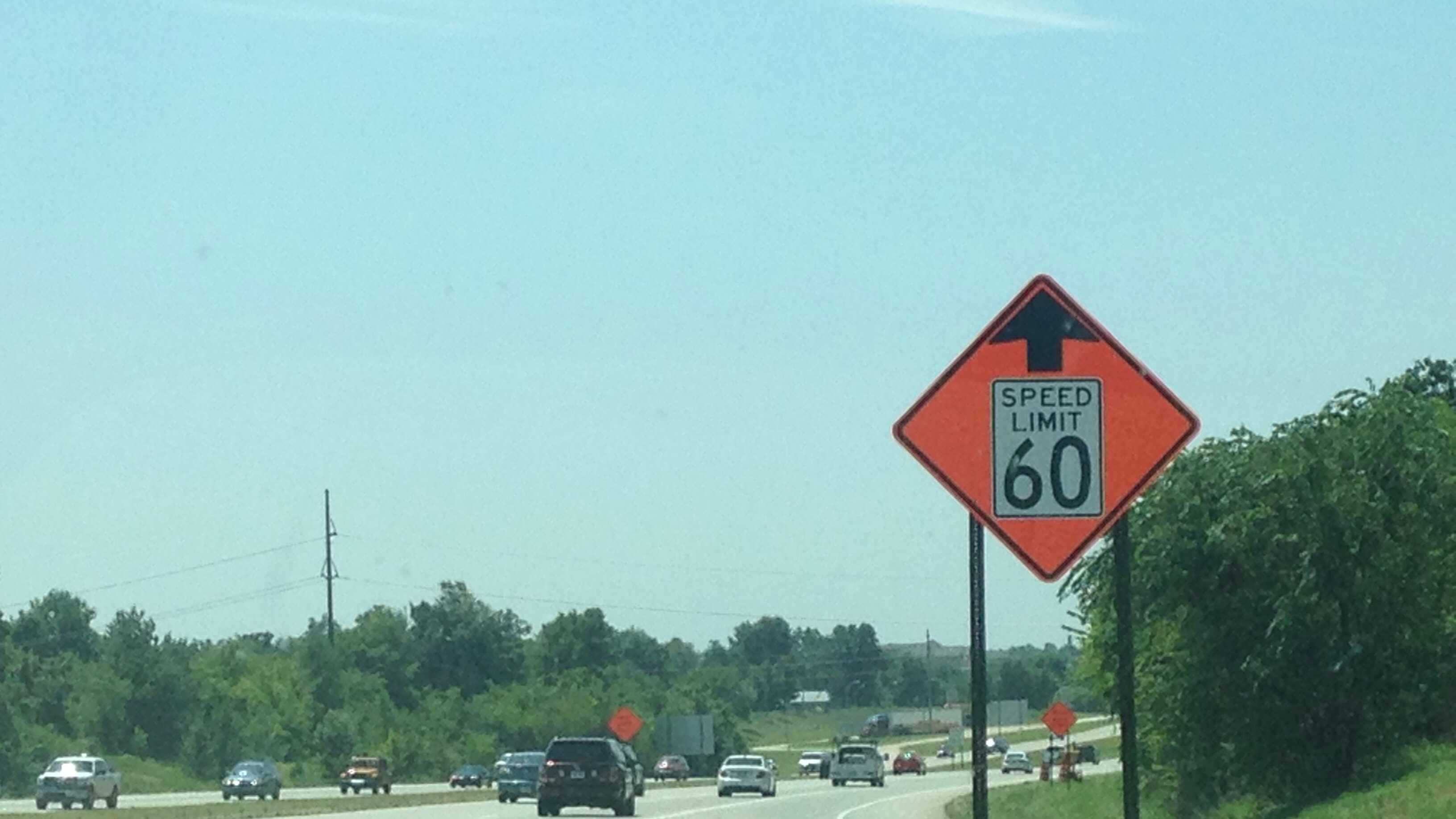 The speed limit on I-49 has been reduced to 60 miles per hour between Highway 71B Interchange in Fayetteville and ending near the Hwy 412 Interchange in Springdale because of construction with the lane widening project.