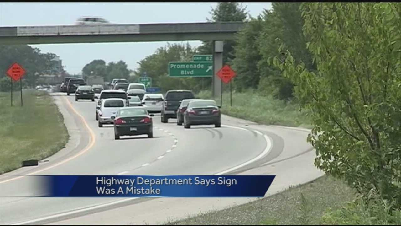 Arkansas's Highway Department says a new speed limit sign that was briefly up on Interstate 49 was tied to a new road project.