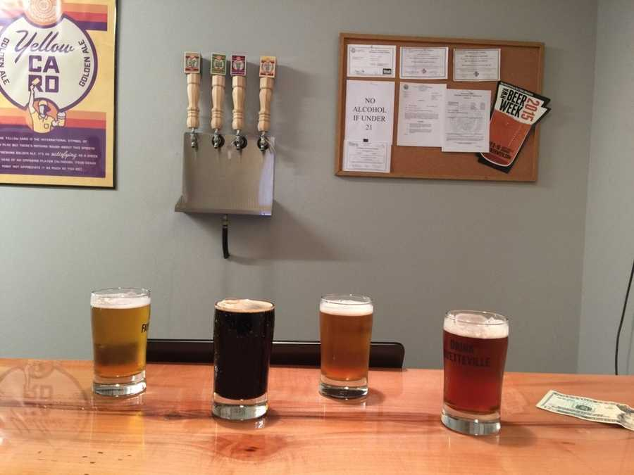 "Columbus House Brewery in Fayetteville. This is their ""flight."""