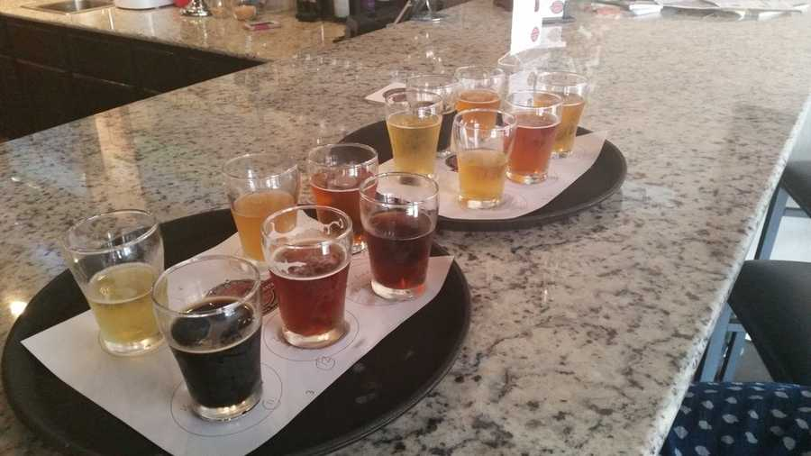 "Brick Street Brews in Rogers. This is called the ""brick wall 12 "" which is all their beers in 5oz pours."