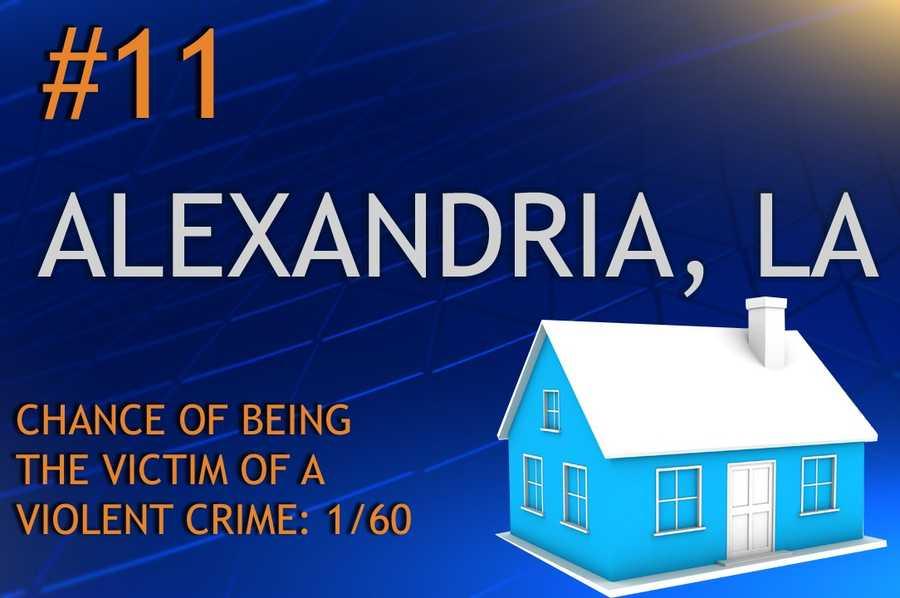 Violent crimes in Alexandria, LAPopulation 48,426MURDER RAPE ROBBERY ASSAULTREPORT TOTAL616*156630RATE PER 1,0000.120.333.2213.01