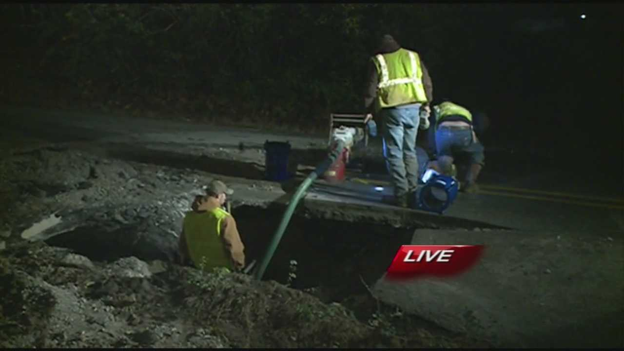 Crews were working during the early morning hours after water main break in Fayetteville.